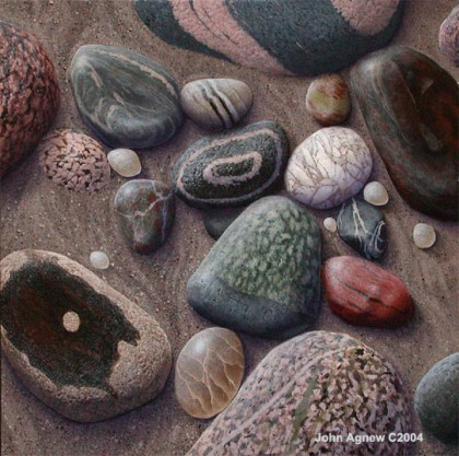 """Beach Pebbles""  10 x 10, acrylic on panel"