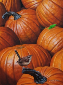 """Harvest Time""  10 x 8 acrylic on panel. A Carolina Wren is about to harvest a Katydid."