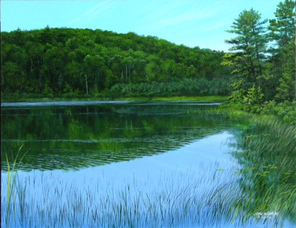 """Little Beaver Lake"" 11 x 14 acrylic on panel (plein air)"